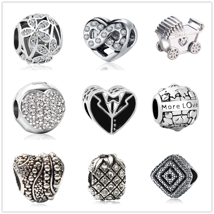 Charm Silver Plated Bead Pram Eyes Handbag Infinity Heart Fit Pandora Charms Beads Bracelet Pendants Diy Original Jewelry Gift Jewelry & Accessories