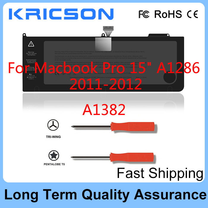 Original A1382 Battery For Apple Macbook Pro 15 Inch A1286 (only For Early 2011, Late 2011, Mid 2012), Fit MC721LL/A MC723LL/A