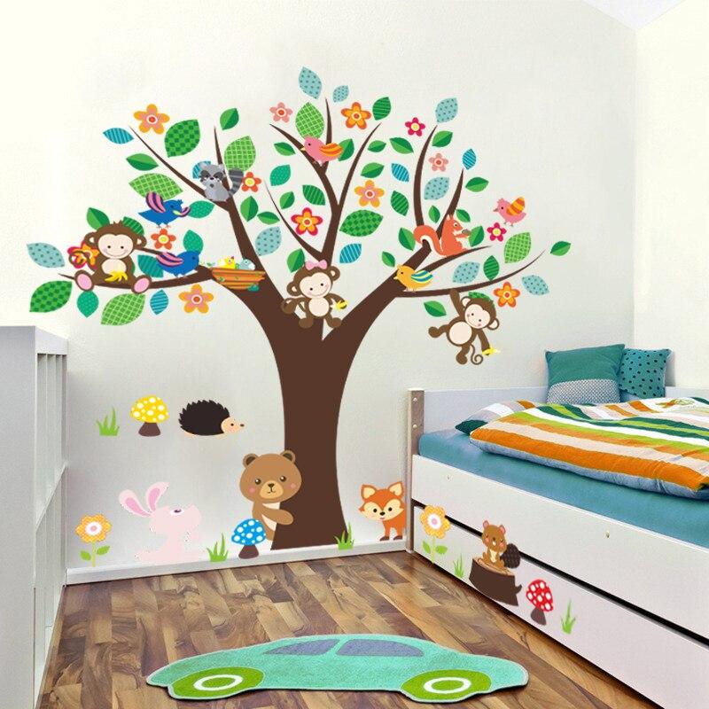 Kartun Monyet Rabbit Beruang Bunga Pohon Dinding Stiker