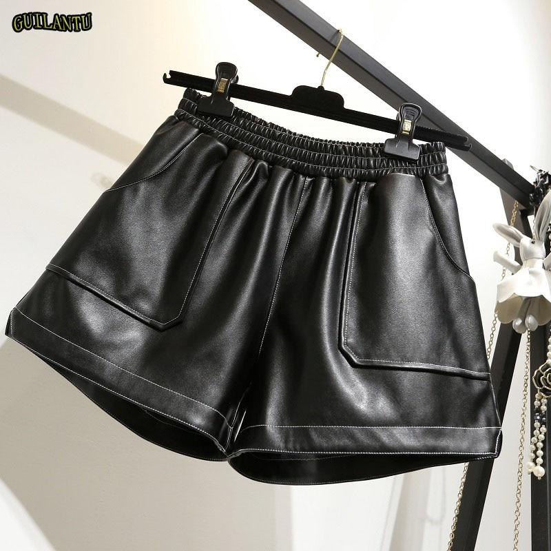 Summer Sexy Pu Leather Mini Shorts Women Elastic High Waist Plus Size 4XL Black Punk Short Shorts Casual Festival Cute Hotpants