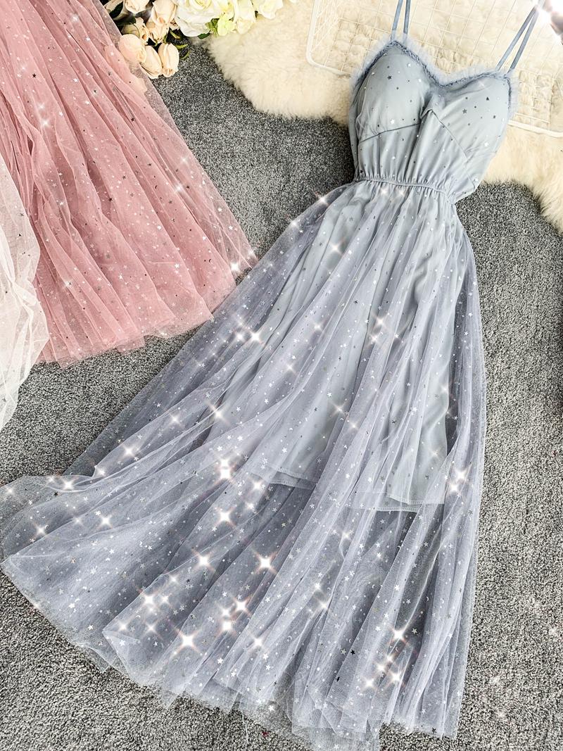 Sequins V-Neck Gauze Ruffles Mesh A-Line Dress 15
