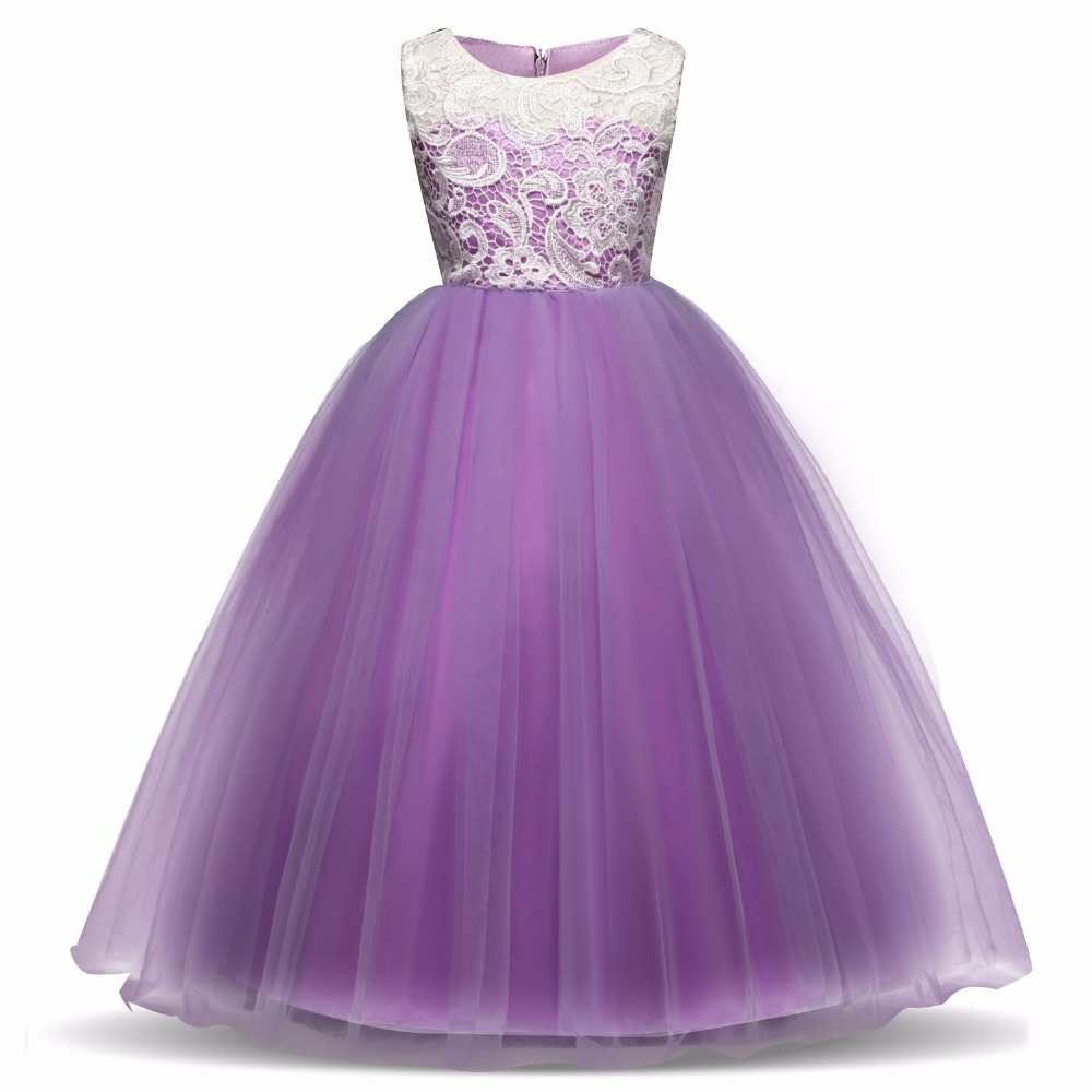 5-14 Years Teens Party Prom Tulle Lace Wedding Flower Girl Dresses Kids Girls Elegant Princess Sleeveless Pageant Formal Dress цена