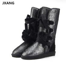 JXANG Clássico Botas de Neve Mulheres Sapatos de Inverno Bota de Couro bota feminina botas mujer zapatos Botas de Neve das Mulheres À Prova D' Água