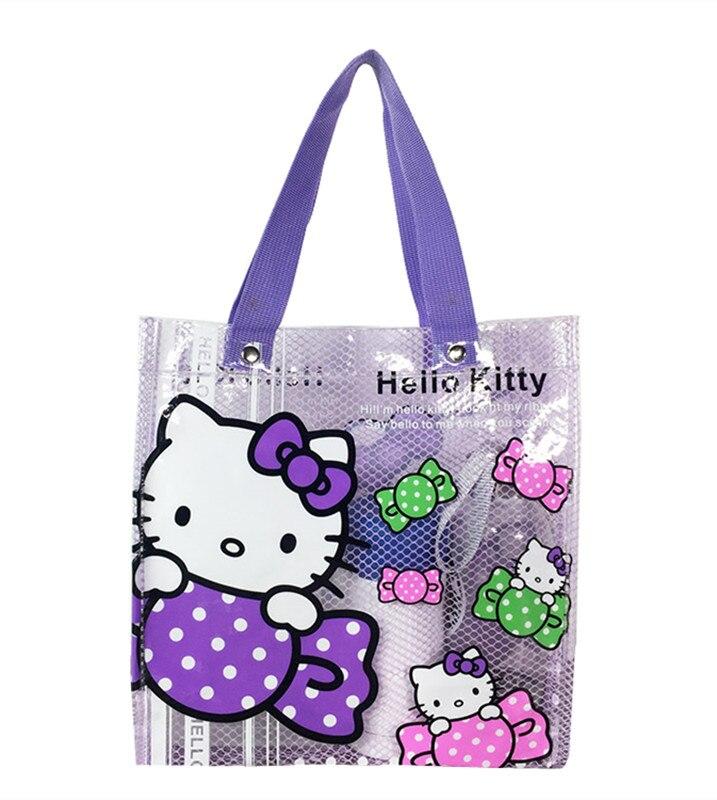 Cute Purple Candy Hello Kitty Clear Transparent Tote Bag Lunch Bag Girls Women Small Handbag PVC Plastic Waterproof Beach Bag tote bag