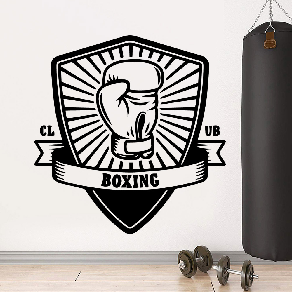 Drop Shipping boxing club Wall Art Decal Wall Stickers Pvc Material Kids Room Nature Decor Vinyl Mural Decal in Wall Stickers from Home Garden
