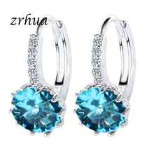 ZRHUA Original 925 Sterling Silver Cubic Zirconia Crystal Classic Round Earrings for Women Wedding Bijoux Brinco Big Sale popular 925 sterling silver 5 colors square cubic zirconia stone austria crystal classic clip earring women jewelry brinco