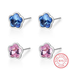 Серьги гвоздики женские из серебра 925 пробы с кристаллами swarovski