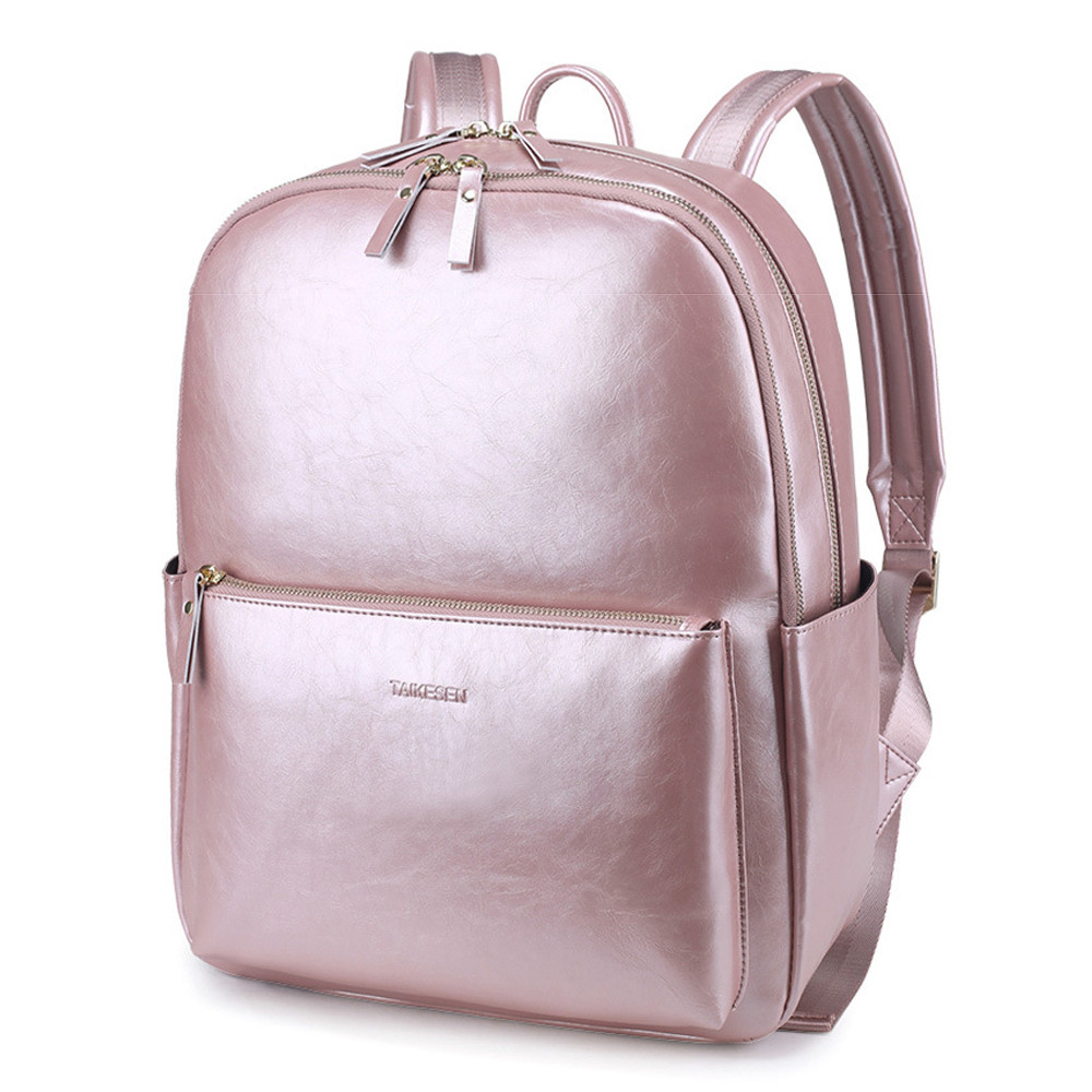 Women Imitate Leather Backpack Casual Waterproof Travel Daypack Korean Style 14 Inch Laptop Bag for Macbook Air Pro ASUS HP