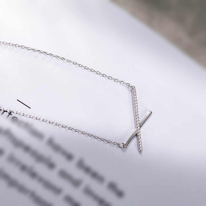 Lá bay 100% 925 Sterling Silver Cross Cubic Zirconia Dây Chuyền & Mặt Dây Đối Với Phụ Nữ Minimalism Thời Trang Đồ Trang Sức Bên