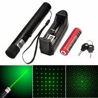 Waterdichte Laser Pointer Groen Licht 100 mw 532nm Gericht Laser Pen Pointer Met 18650 Batterij Eu Plug Charger Voor PPT onderwijs