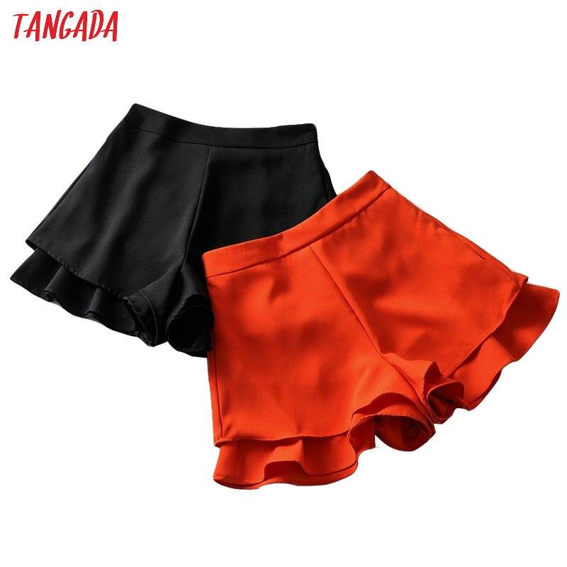 Tangada fashion women korean ruffles   shorts   summer solid pockets female high street black red ladies   shorts   panalones 6A224