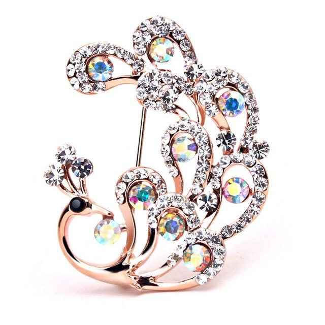 Мода Роскошный Многоцветный Кристалл Rhinestone Павлин Броши Популярные Классические Ювелирные Изделия Для мужчин Великолепные Старинные Mujer Бижутерии
