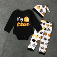 Spring Autumn Baby Boys Girls Long Sleeve Sets Child Christmas Halloween Clothing Hat Shirt Legging 4AA802CS