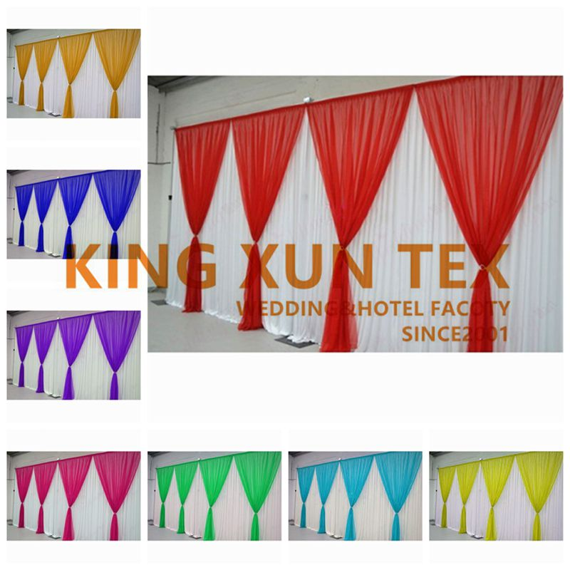 Ice Silk Wedding Backdrop Curtain With Colorful Drape Valance Stage Backdrops Background For Party Event DecorationIce Silk Wedding Backdrop Curtain With Colorful Drape Valance Stage Backdrops Background For Party Event Decoration