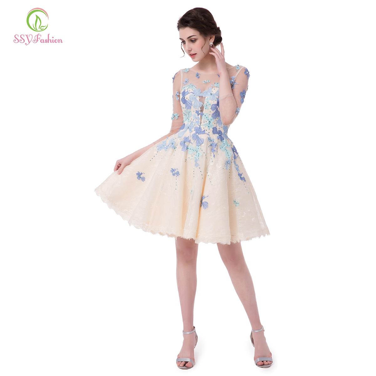 Ssyfashion Long Sleeve Wedding Dresses The Bride Elegant: SSYFashion 2017 New Lace Cocktail Dresses The Bride