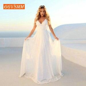 Image 3 - Lüks Bohemian fildişi dantel düğün elbisesi 2020 uzun gelinlik v yaka Backless BOHO kırsal plaj kadın parti gelin elbiseleri yeni