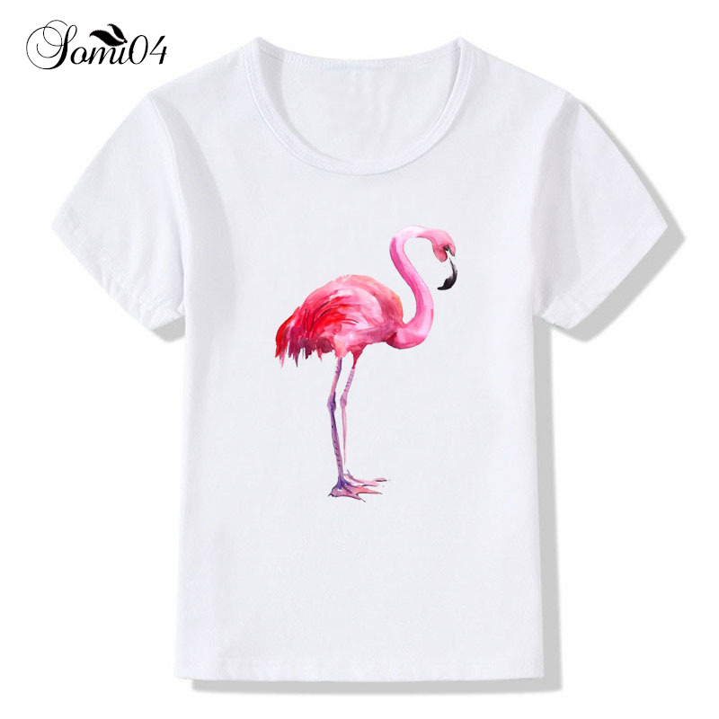 Children White T-shirt Fashion Flamingo Print Short Sleeve 2018 Summer Tops Kids 2 3 4 5 6 7 Years Boys Girl Pattern Tee Clothes 2 pcs summer kids short sleeve t shirt page 5
