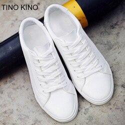 TINO KINO nuevo planos de las mujeres de otoño blanco vulcanizados de mujer PU cuero sólido directo zapatos de mujer ZAPATOS DE MODA CALZADO Casual