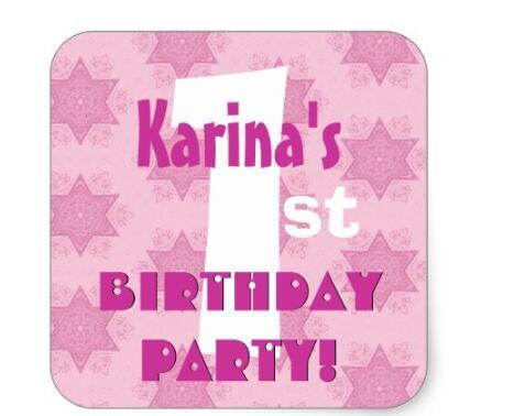 1 5 polegadas de aniversario personalizado nome b004 listras cor de rosa adesivo