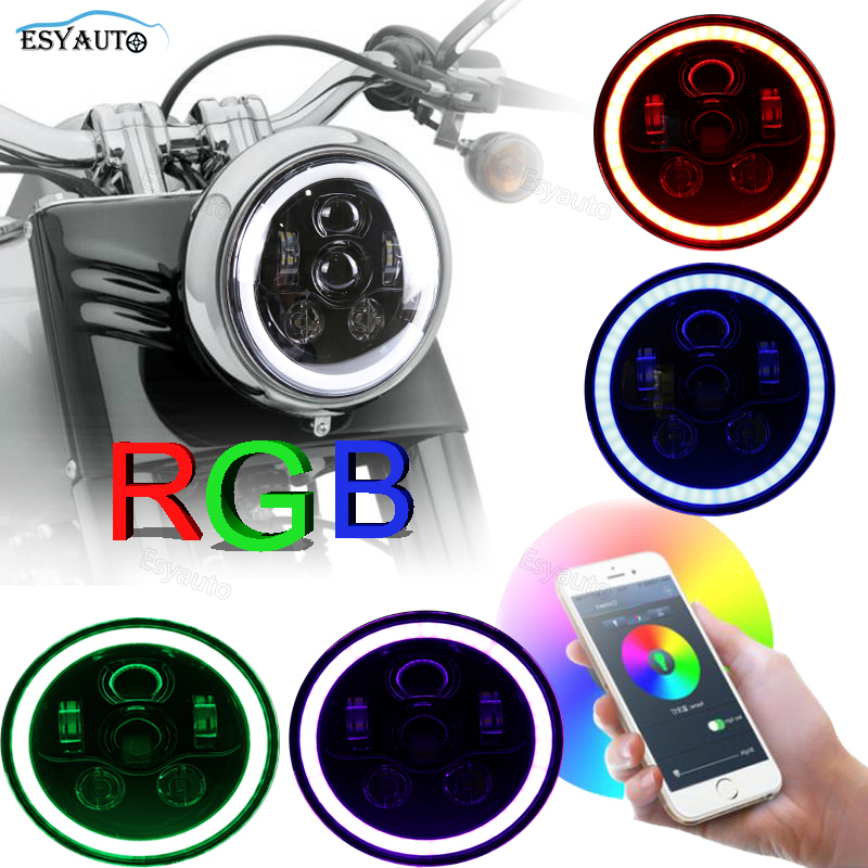 7 Inch LED Headlight RGB Multi-color Angel Eyes Daymaker Projector for Harley Davidson Motorcycle for Jeep Wrangler JK Off Road windshield pillar mount grab handles for jeep wrangler jk and jku unlimited solid mount grab textured steel bar front fits jeep