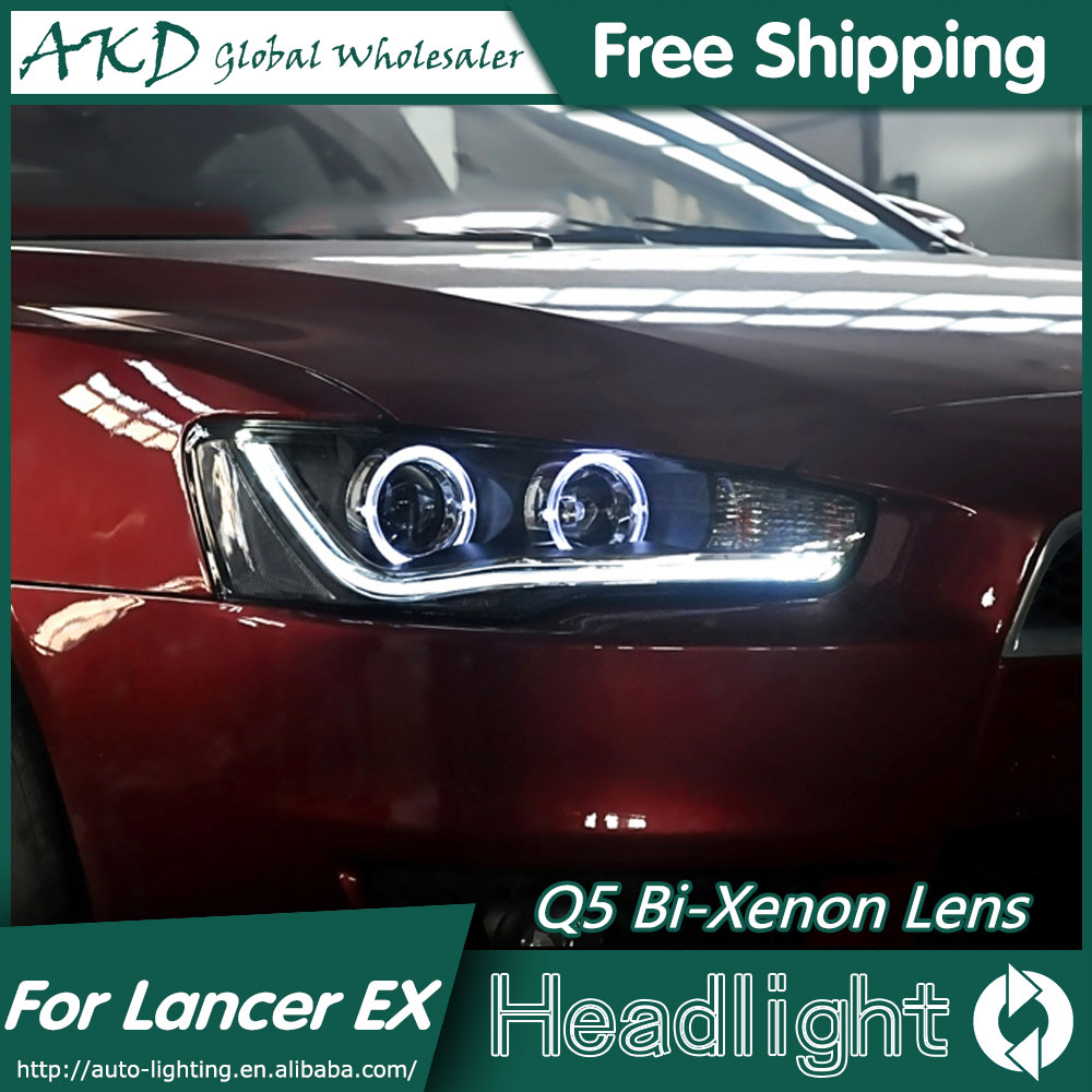 AKD Car Styling for Mitsubishi Lancer EX Headlights Lancer LED Headlight LED DRL Bi Xenon Lens High Low Beam Parking high quality car styling case for mitsubishi lancer ex 2009 2011 headlights led headlight drl lens double beam hid xenon