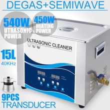 Digital  Ultrasound Cleaner 15L 540W 360W Degas Heater Timer Ultrasonic Stainless Bath PCB Electronics Glassware Lens Lab цена и фото