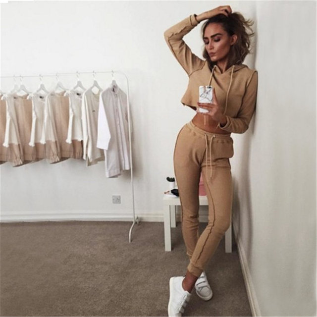 2017 fashion autumn novelty design women hoodies tracksuits hooded crop top pants 2 pieces suit set