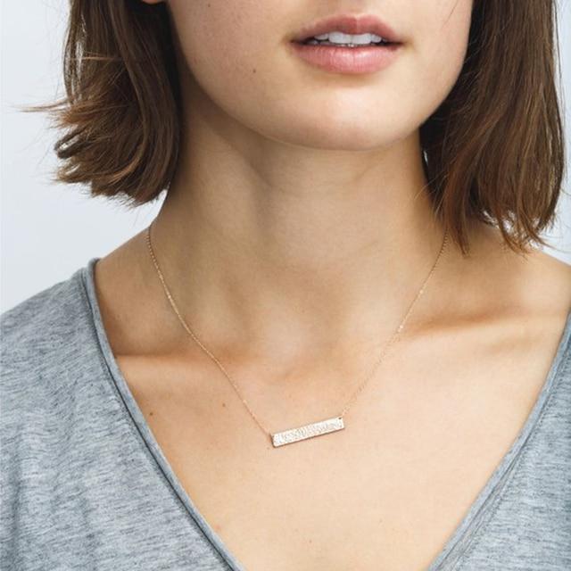 Long Bar Necklace 100% 925 Silver Jewelry Custom Gold Choker Pendants   1