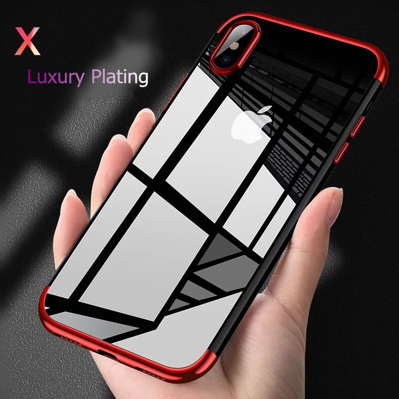 Luxury Transparent Case For iPhone X XS Max XR Ultra-thin Clear Plating Shining Soft TPU Case cover For iPhone XS XR Back Cover