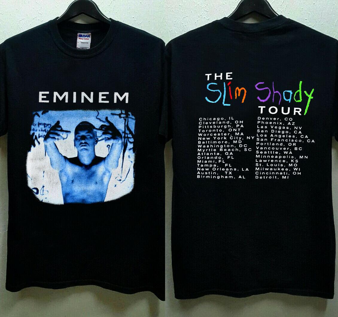 Rare Hot Vintage 1999 Eminem Slim Shady Tour New Reprint Hot Size Print T Shirts Man Short Sleeve T-Shirt Top Tee Plus Size