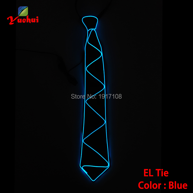 Fashion Blue color Luminous Gift Glowing LED Tie EL Wire Tie For Halloween Party DJ bar, cosplay club wedding Decoration