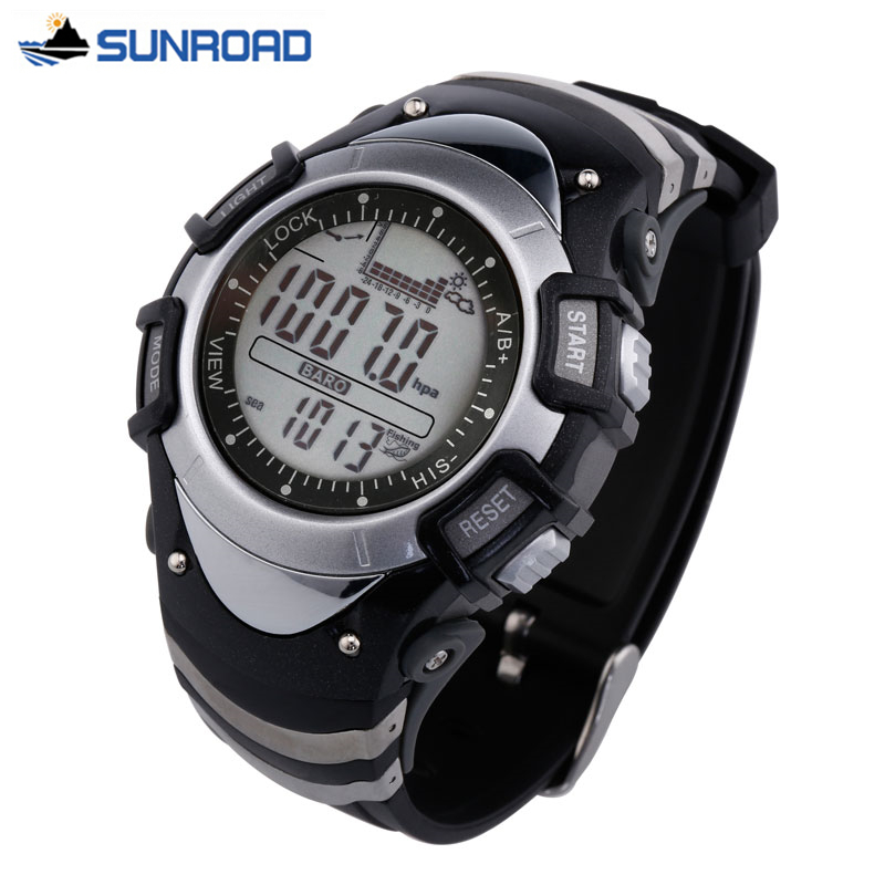 Sunroad FX704 Waterproof Multifunction Digital Fishing Watch All In One 3ATM Barometer Altimeter Thermometer Record Watch Clock