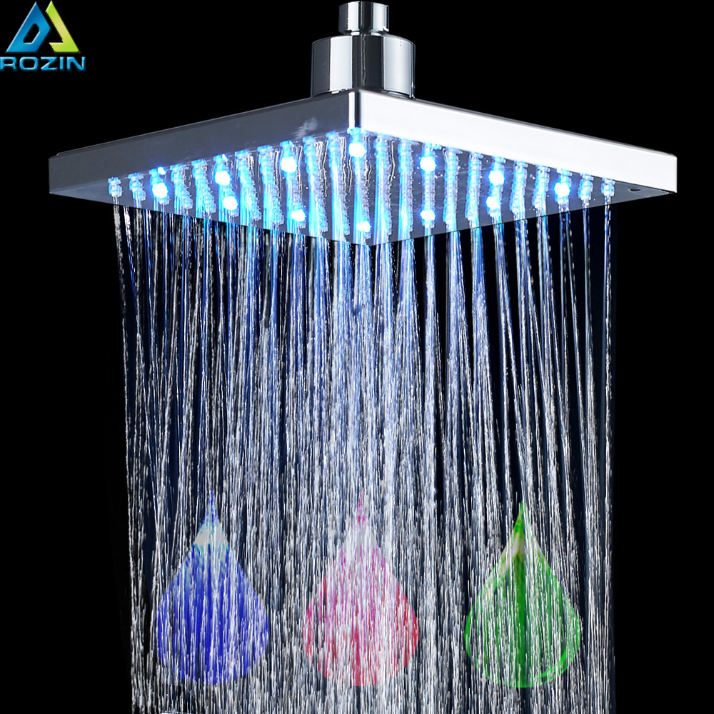 Bright Chrome LED Light Rainfall Shower Head Rectangular LED Color Changing Shower Head Shower Faucet Replace Head