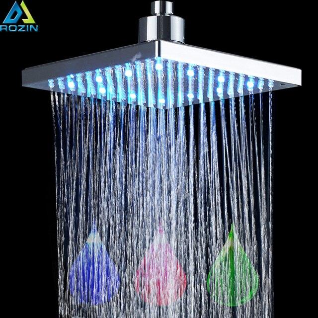 heldere chrome led licht regendouche rechthoekige led kleur veranderende douchekop douche kraan vervangen hoofd
