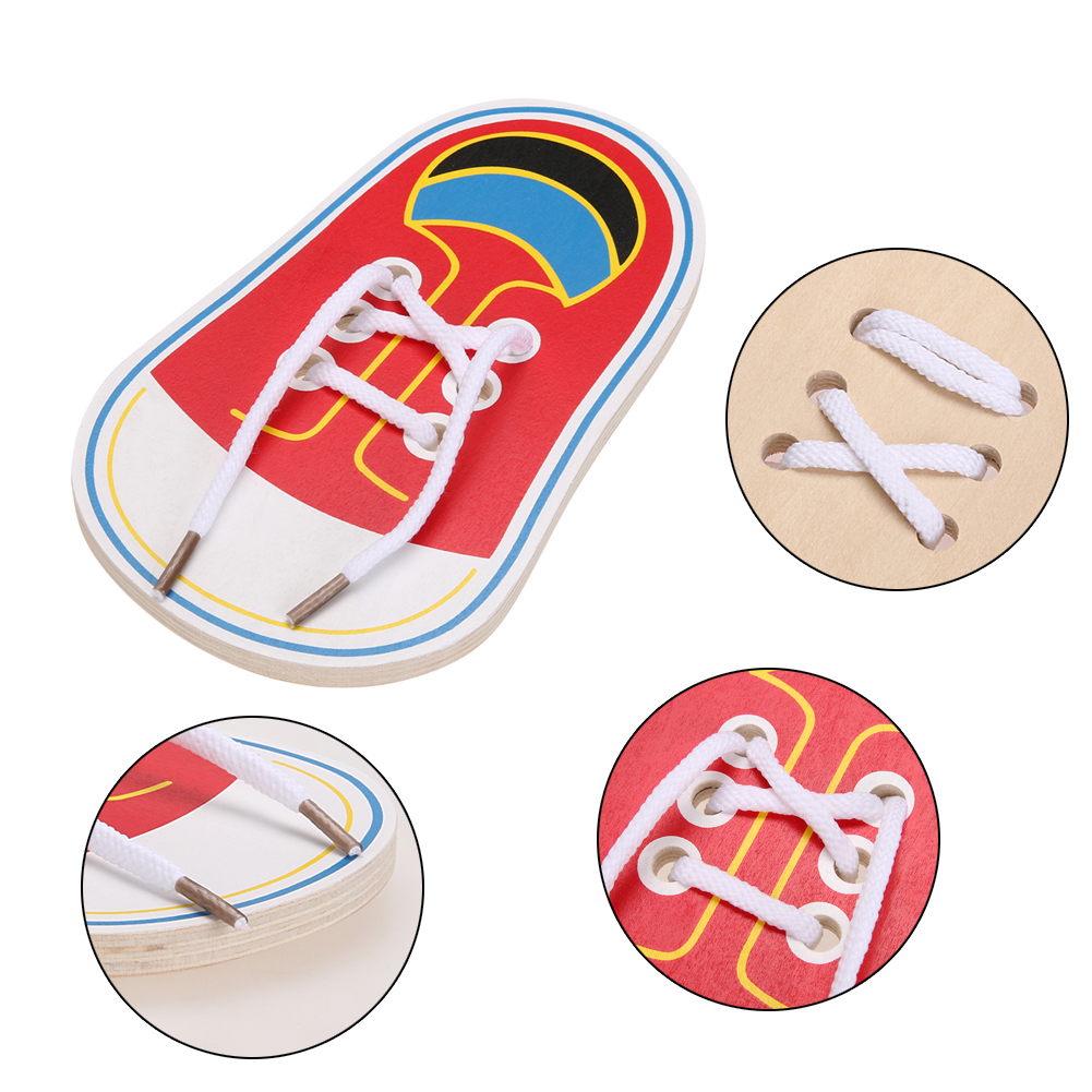 Lovely New Teaching Kindergarten Kids Puzzle Early Educational Toys Toddler Lacing Shoes Leaning To Tie Shoelaces Toy Teaching Aids Traveling Home
