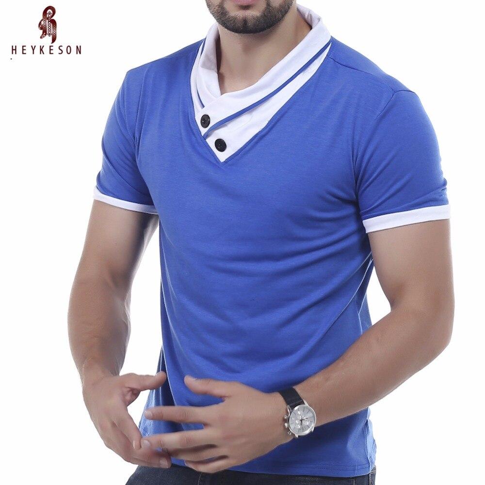 Brand Men S T Shirt 2017 Summer Solid Color Fashion V Neck Short Sleeved High Quality