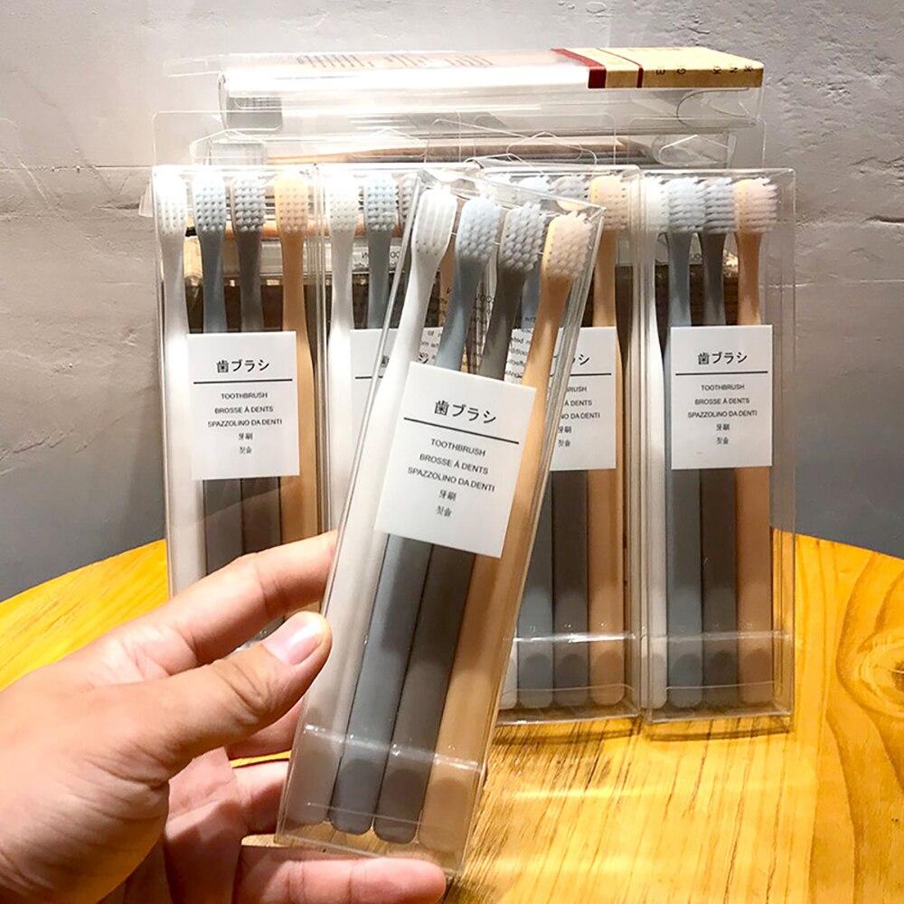 4pcs/box Environmental Bamboo Toothbrush For Oral Health Deep Clean Teeth Medium Soft Bristle Antiskid Handle Toothbrushes