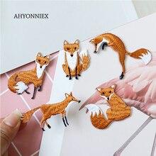 AHYONNIEX 1 шт. Вышитые милые нашивки с лисой сумки для одежды DIY Аппликация Вышивка Parches утюг на патч для одежды