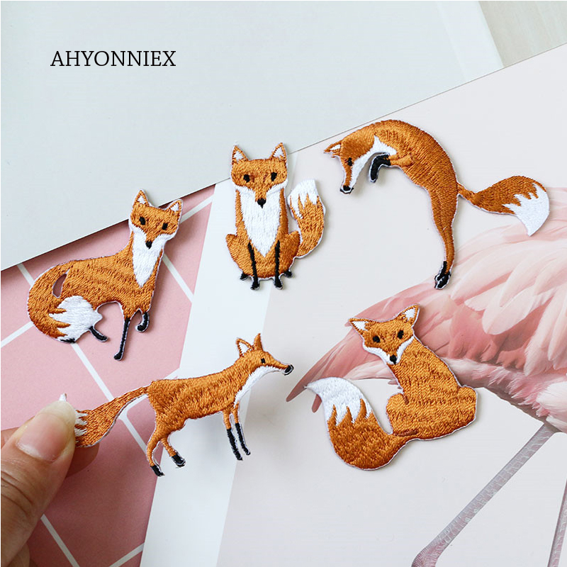 AHYONNIEX 1 חתיכה רקום חמוד שועל תיקוני בגדי שקיות DIY Applique רקמת Parches ברזל על תיקון בגדים