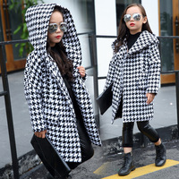 long girls parkas jackets coats winter 2017 with hoods black white plaid hooded trend coat thick warm winter clothing for teens
