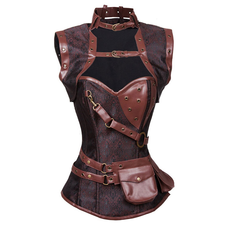 Steampunk Corset And Bustier Black Brocade Sexy Cupless Vest Corset Gothic Waist Corsets Sexy Retro Steel Boned High Neck Corset