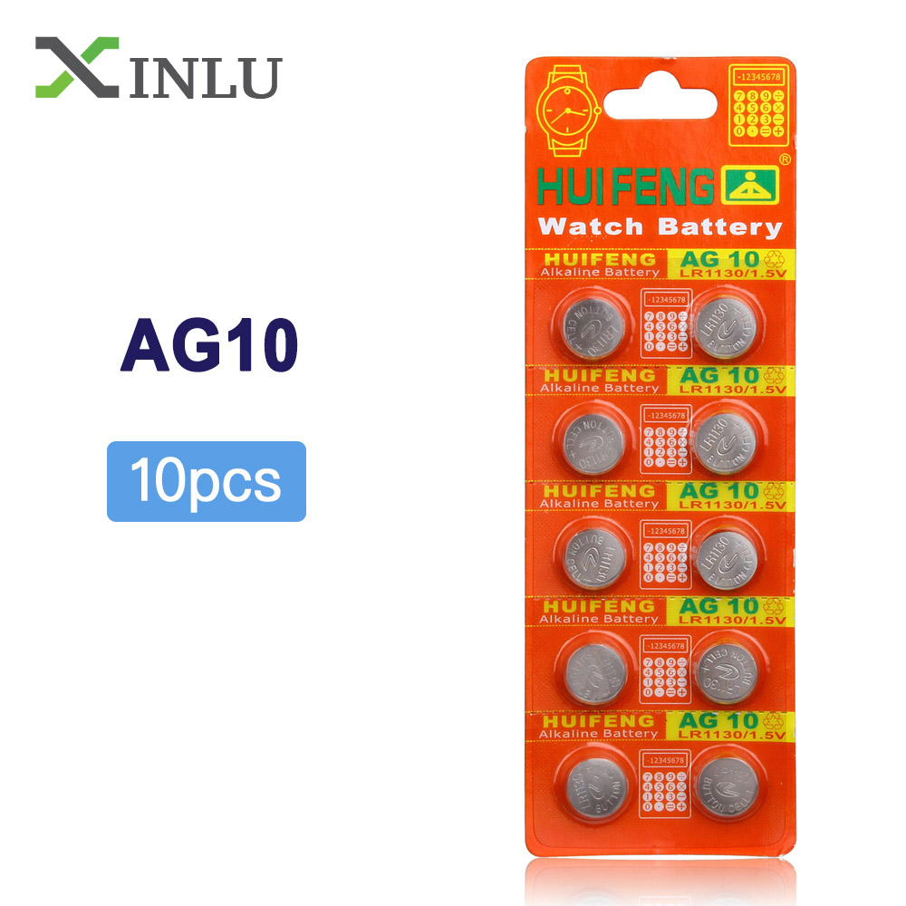 10pcs/Lot=1pack AG10 LR1130 389 LR54 SR54 SR1130W 189 L1130 Button Cell Watch Coin Battery AG10 LR1130 Lr 1130 Celular Battery