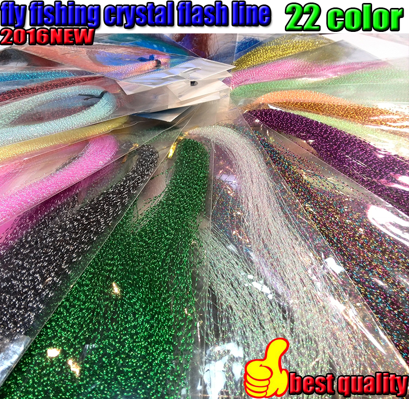 2016NEW lure line 22kinds color fly fishing crystal flash line 6bag/lot jig fishing line length is 30CM(China)