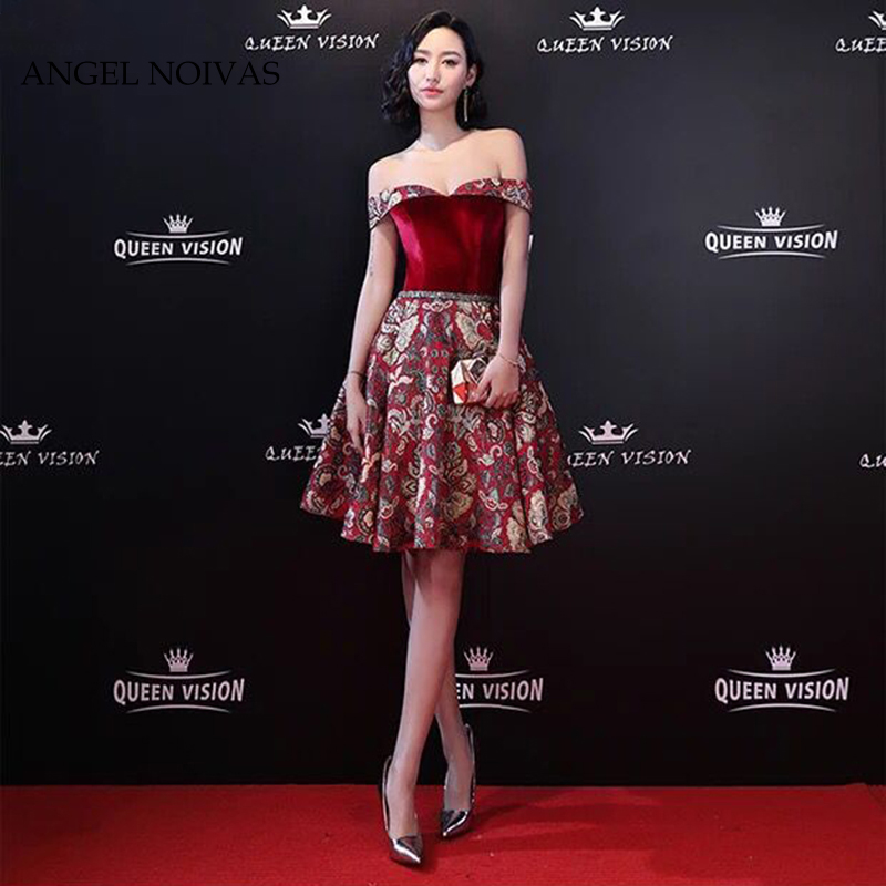 Angel Novias Sexy Burgundy Elegant   Cocktail     Dress   2018 Knee Length Party Gown   Dress