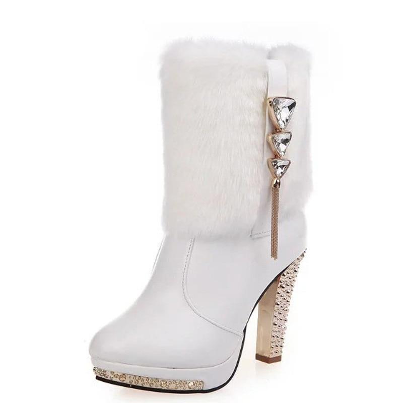 Piel 2019 Plataforma Tacón Conejo Fiesta De Botas blanco Caliente Cristal Negro Zapatos Mujer Boda Dama Felpa Elegante Mujeres Alto Las YxYrq7