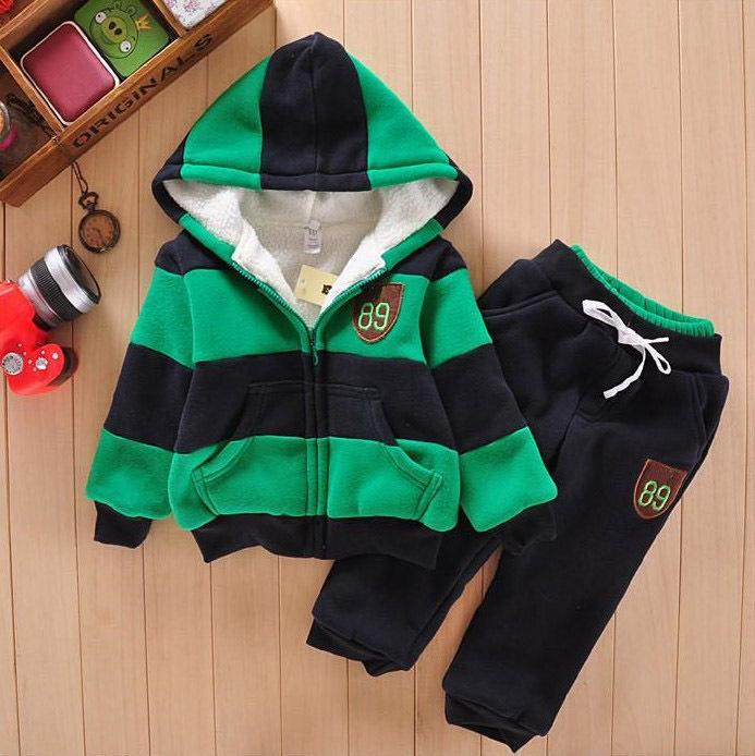Winter Children Clothing Set 2017 New Hoodies Wool Thicken Boys Girls Clothes 2 3 4 5 6 7 Year Kids Sports Suit