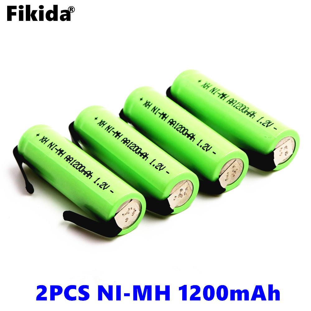 2PCS Fikida AA rechargeable battery 1.2V 1200mah Ni-MH 14430 battery with welded nickel plate needle DIY electric shaver battery
