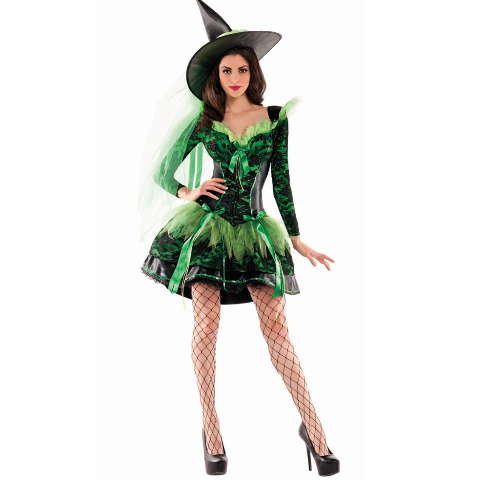 UTMEON New Green Lace Dress Witch Costume Halloween Party Witch Costume Women Sexy  Performances Fancy Dress+Hat