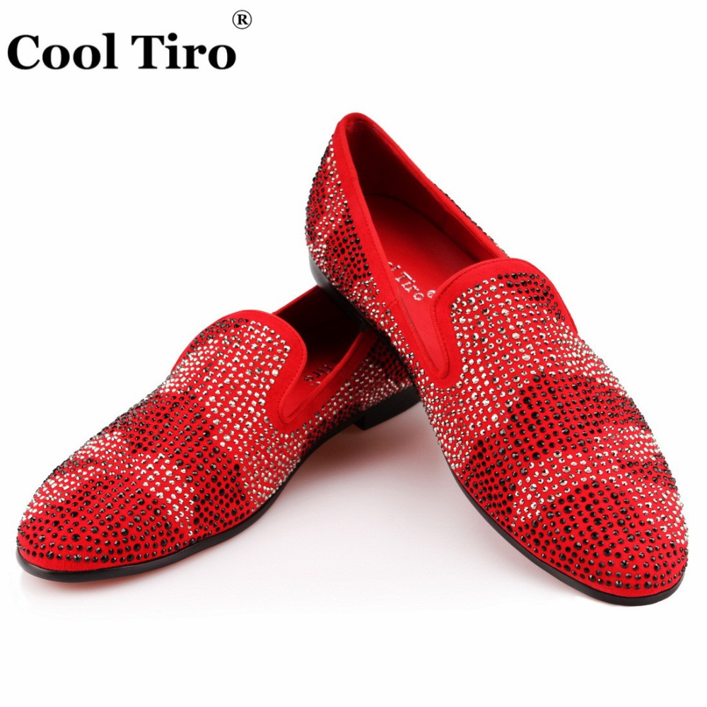 Leopard Rhinestones Loafers Men Moccasins Red Suede Dress Shoes Wedding Party Flats SmokingSlippers Casual Shoes Genuine