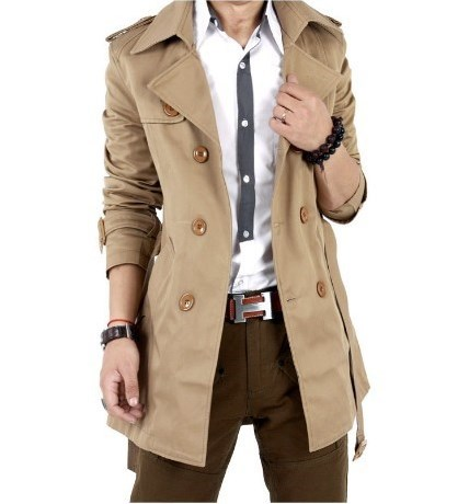 Mens Slim Fit Business Casual   Trench   Coat Black Khaki Spring Autumn Men Double Breasted Trenchcoat Long Suit Jacket with Belt